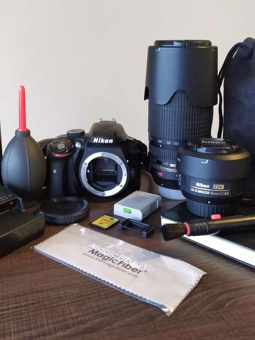 Equipo de fotografia NIKON: Cuerpo 2 Objetivos Mochila Memoria Accesorios