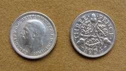 Moneda de 3 peniques de plata Gran Bretaña 1919