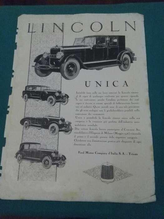 Antigua Publicidad Italia 1927 AUTOMOVILES LINCOLN HOJA ORIGINAL