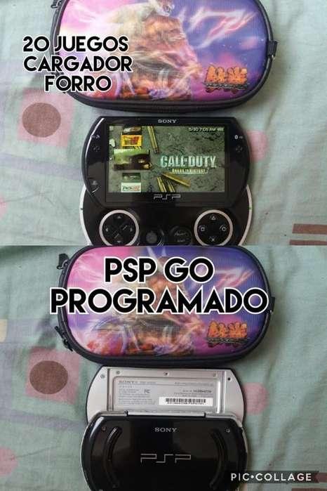 psp go 16gb programado 20 juegos cargador forro cambio venta.,,