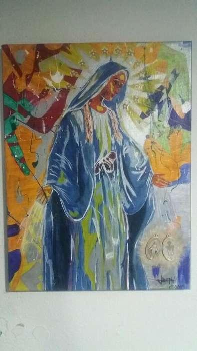 Pintura Virgen Milagrosa en Acrilico