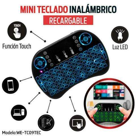 Mini Teclado Retroiluminado Inalambrico Touchpad Smartphone/Tablet/Smart Tv/Tv Box/Laptop/Pc/Consola de Videojuegos.