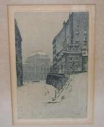 Cuadro antiguo grabado Universidad de Viena firmado / Maxim Nord