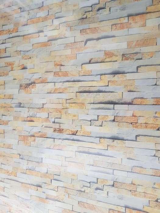 Pared Moderna en PVC, también es ideal en muros con presencia de humedad..