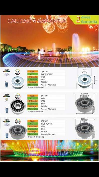 Spot Led sumergible Pileta 18watts hasta 36watts RGB control