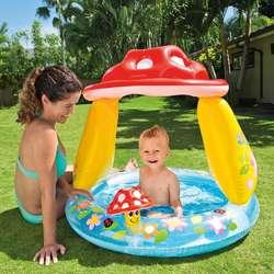 Piscina Inflable HONGO Intex Para Bebes Parasol Protección Rayos UV