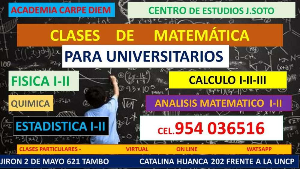 CLASES DE MATEMÁTICA PARA ALUMNOS UNIVERSITARIOS HUANCAYO