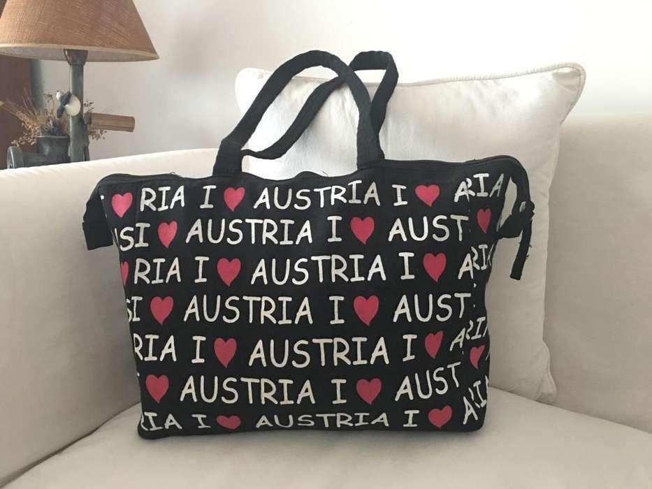 Bolso de lona I love Austria de 37x30x12cm