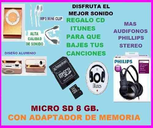 Mp3 16gb Ipod Shuffle Memoria 8gb Audifonos Phillips Stereo