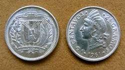 Moneda de 10 centavos de plata República Dominicana 1961