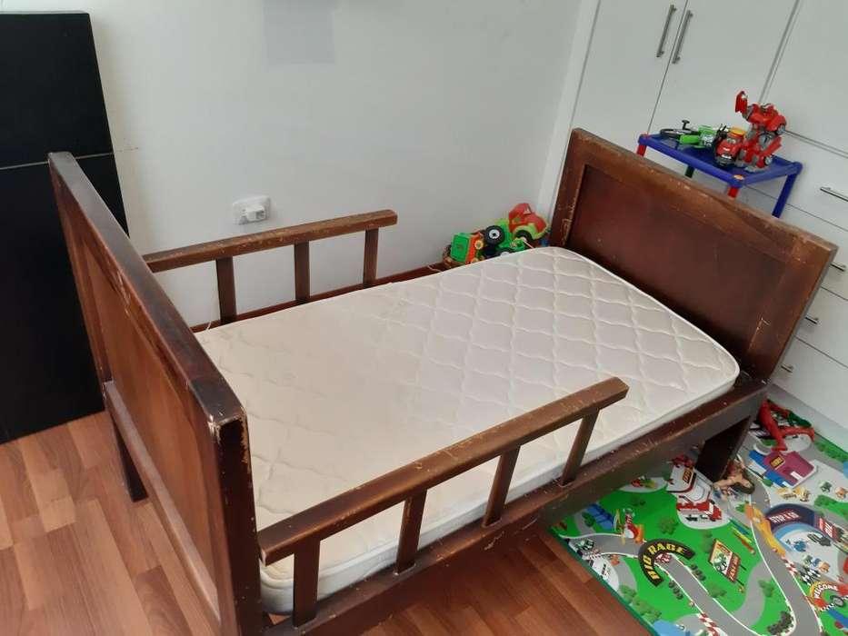 Cama con barandas, colchón chaide y chaide, potector impermeable, para niño de