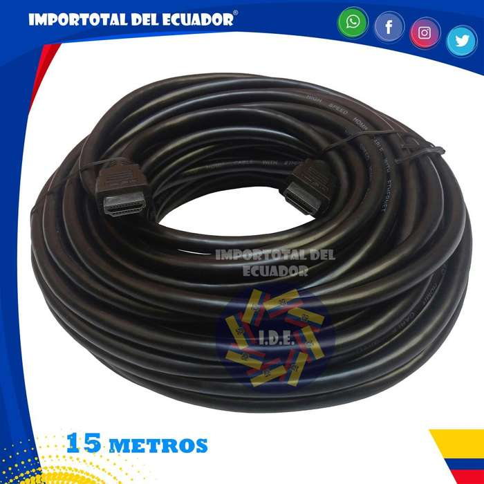 Cable HDMI ''nuevo'' tipo flexible versión 1.4 / hd, full hd, 3d, con ethernet y 4k a 24 hz / Longitud 15 metros