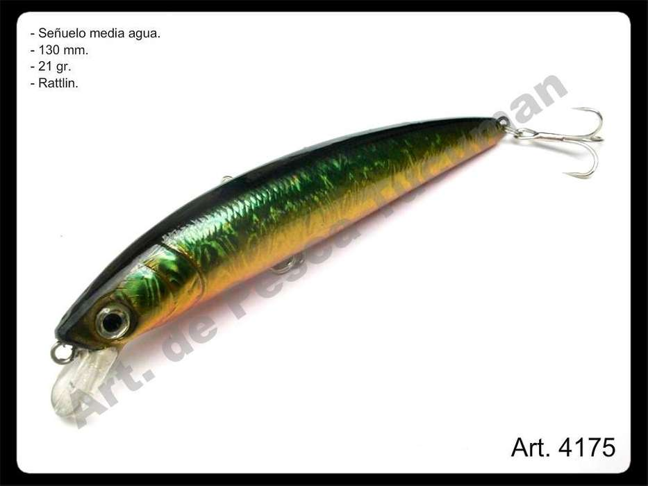 Señuelo verde c/ dorado. Art. de Pesca Tucuman.