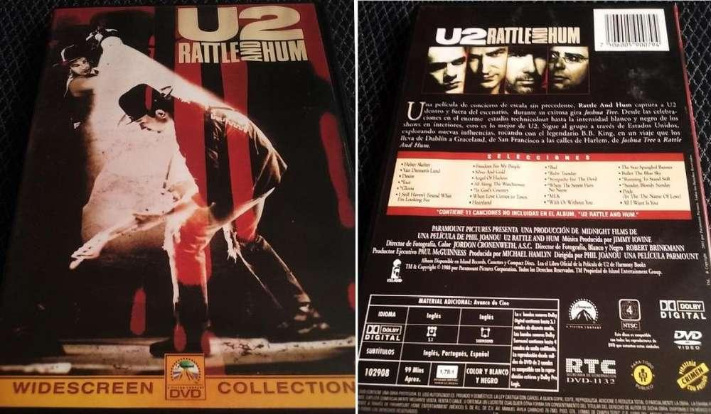 U2 DVD de la película RATTLE and HUM Contiene 11 temas NO incluidos en el álbum de audio. Rock Pop