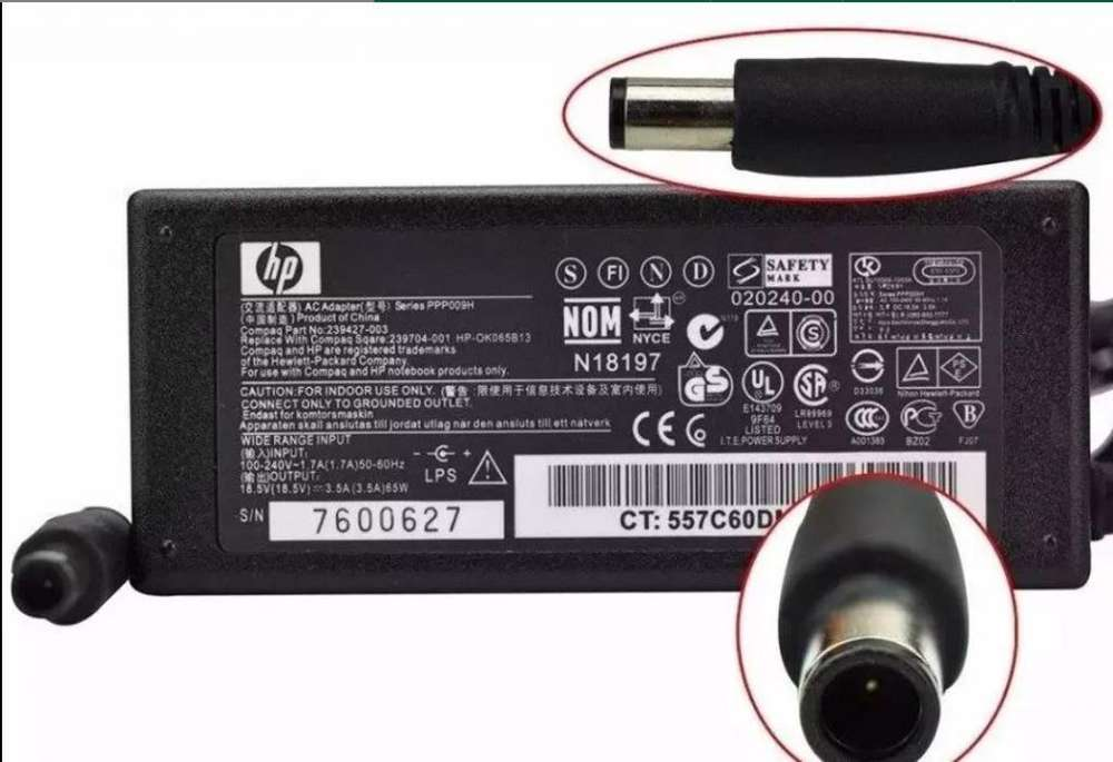 Cargador Notebook HP Original 18.5V ...3.5A ...65W,,,,pin grueso
