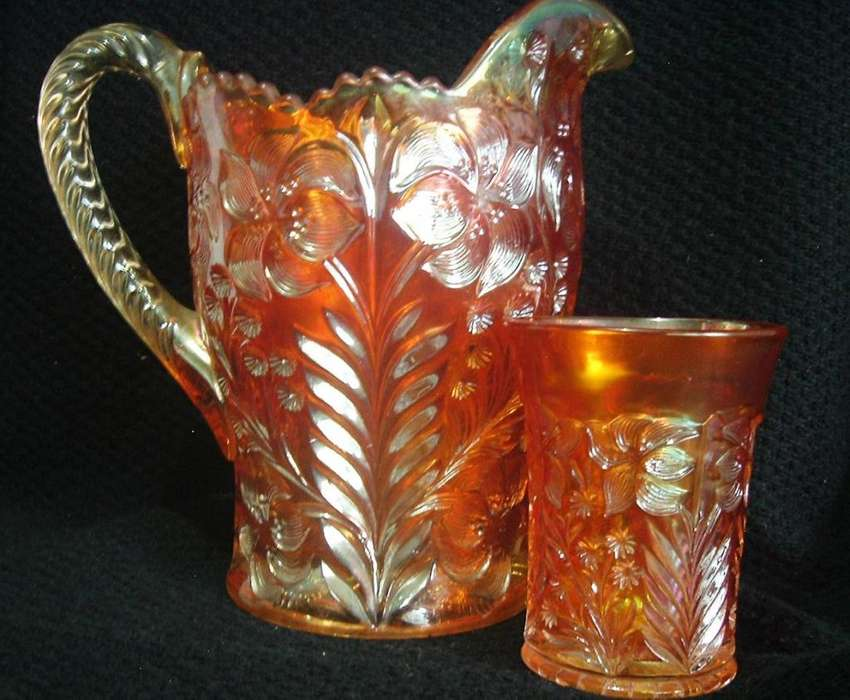 Cristaleria. Juego Jarra Y Vasos Carnival Glass. Jarra Y 3 Vasos. Impecable.