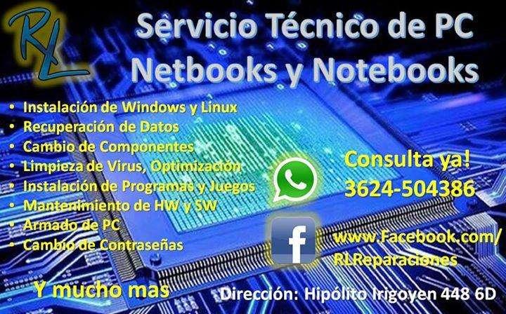 SERVICIO TECNICO DE PC! Cel y Wsp: 3624504386