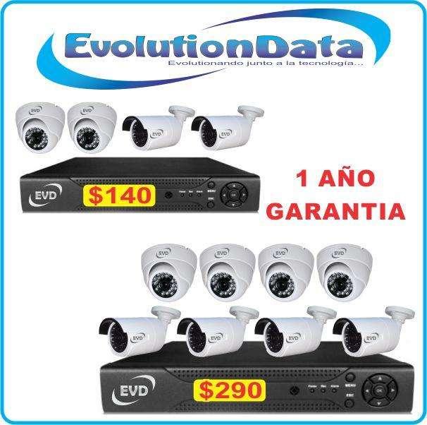 Kit 4 y 8 Camaras Seguridad 1 AÑO GARANTIA Marca EVD CCTV DVR HD 720P IP