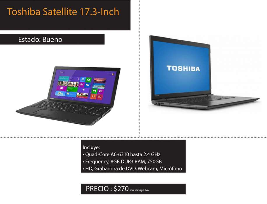 Laptop Toshiba Satellite 17.3 pulg.
