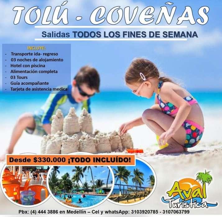 EXCURSION TOLU COVEÑAS TODOS LOS FINES DE SEMANA DESDE330.000