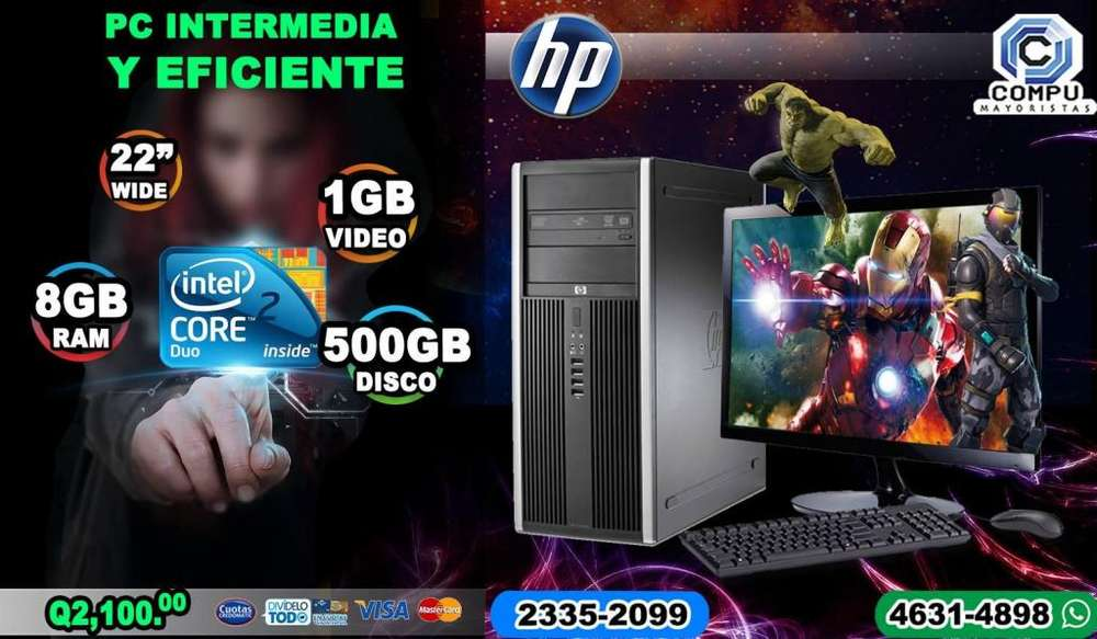 COMPUTADORAS POTENTES CORE 2 DUO CON 8GB RAM 500GB HD 1GB DE VIDEO A Q2,100.00 CONTAMOS CON 10 VISA CUOTAS Q210.00