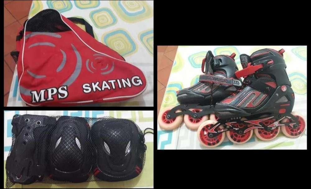 Vendo patines MPS ligeramente usados con kit de seguridad (sin casco) 100.000 (Negociables) 3506414586.