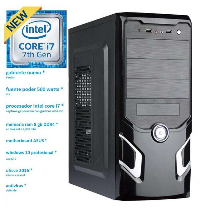 potente cpu intel core i7 septima generacion 8 gb ram ddr4 2 terabyte disco duro computadora nueva pc