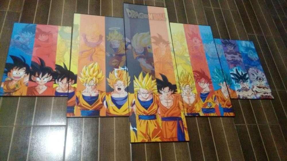 Cuadros Decorativos 5 Piezas Dragon Ball