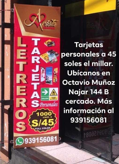 Tarjetas Personales 45 Soles El Millar