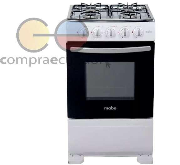 Mabe Cocina 4 Quemadores A Gas 51cm Acero Inoxidable Blanca