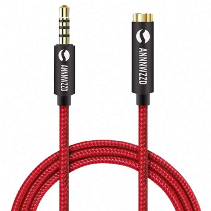 Cable Extensión 3 Metros Auxiliar Audio Micrófono 3.5mm Trrs