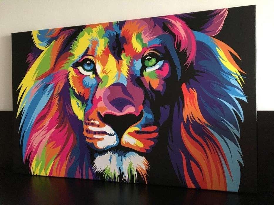 Hermoso cuadro de rostro de león 1783
