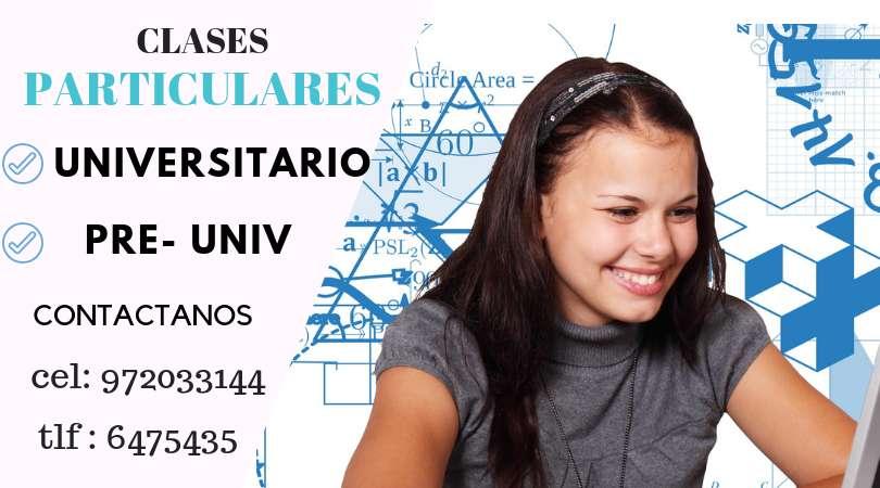 CLASES PARTICULARES DE MATEMATICA - FISICA - EXCEL NIVEL UNIVERSITARIO - PRE UNIVERSITARIO Y SECUNDARIA