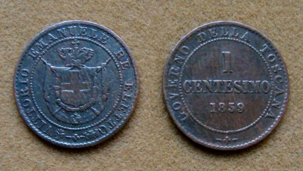 Moneda de 1 centésimo de Toscana, Italia 1859