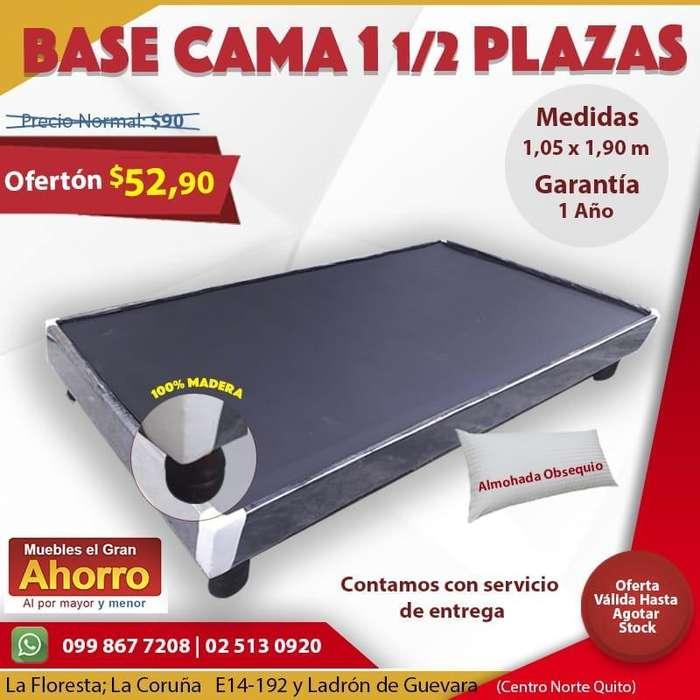 Super Oferta en Bases Cama de Una y Media Plazas 1 1/2 Plazas*