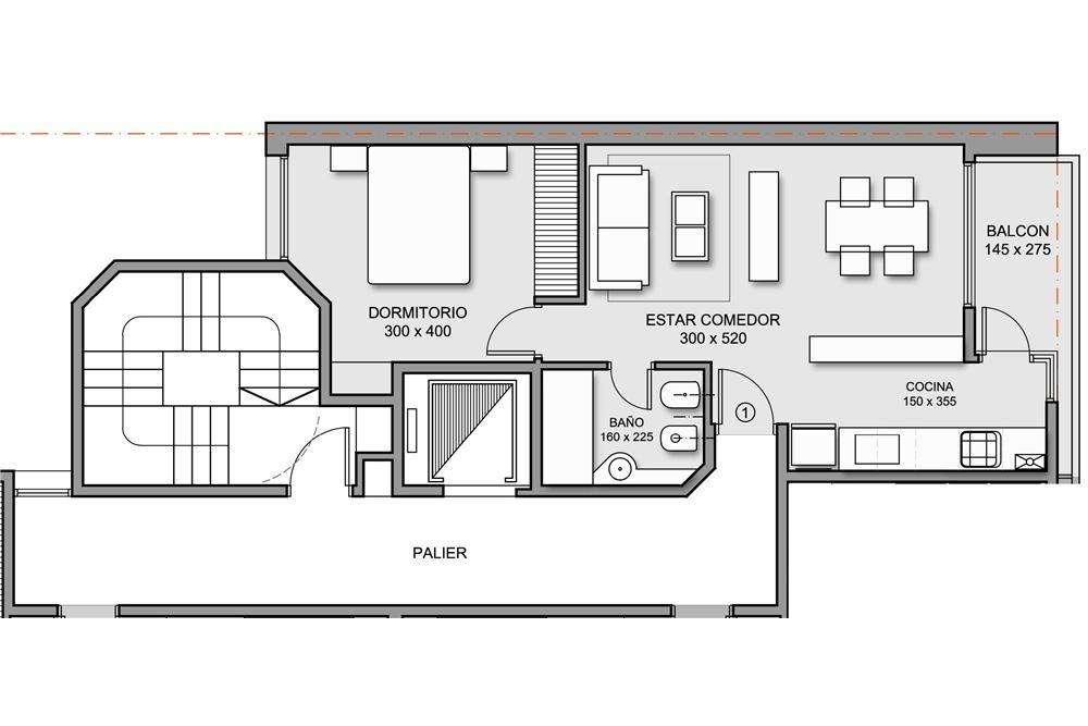 Departamento 1 dormitorio al frente con balcón