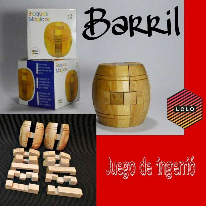 Juego de ingenio, barril de madera