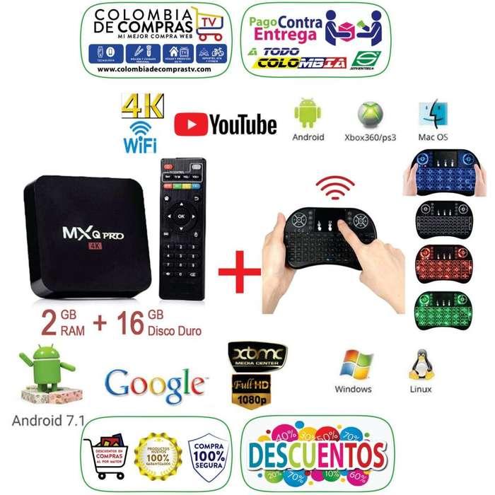 COMBO TV BOX 4K D.D 16GB, Ram 2GB, Y Miniteclado con Mouse, Convierte Tu TV En Smart Tv, Nuevos, Garantizados.