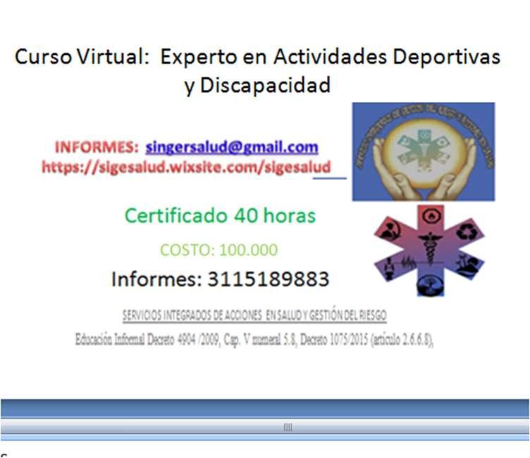 100.000 CURSO VIRTUAL: Experto en Actividades Deportivas y Discapacidad