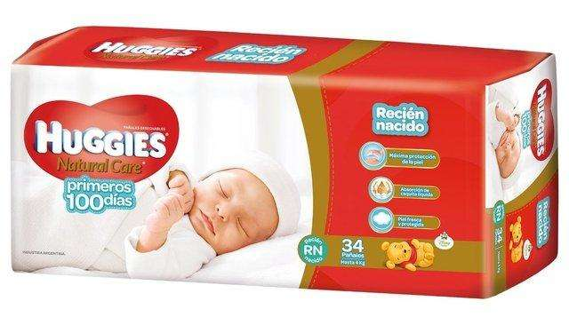 HUGGIES NATURAL CARE TALLE RNx34 PAÑALES, PACK x7 PAQUETES