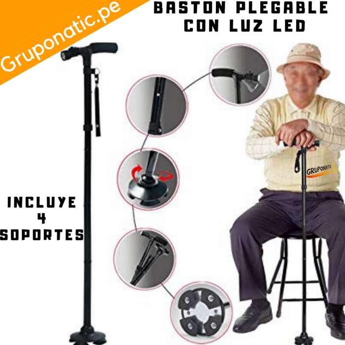 Baston Metal Plegable Con Luz Led 4 Soportes Gruponatic San Miguel Surquillo Independencia La Molina Whatsapp 941439370