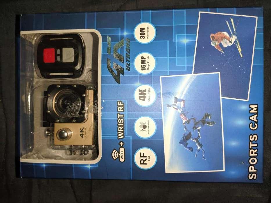 Cámara Sports 4k Dorado, con control, batería extra y accesorios