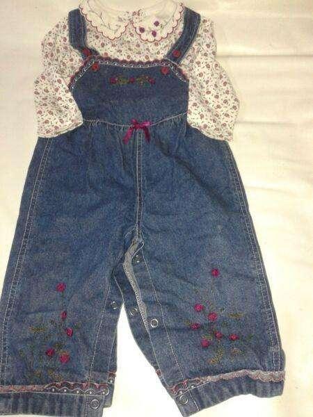 Conjunto Jardinero 18m Camisa Bordada nena Import use 1 vez