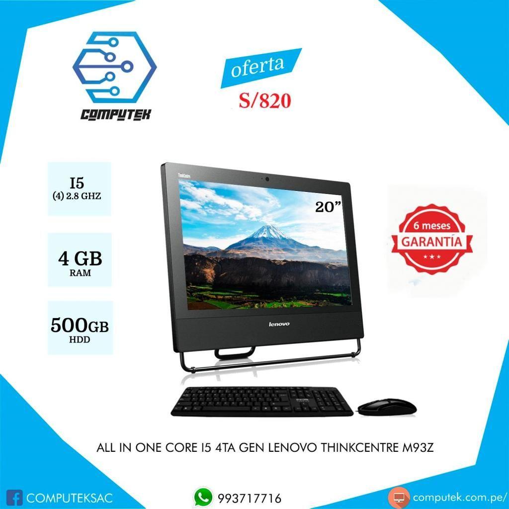 All in One Lenovo Thinkcentre M93z - Core i5 4Gen, Ram 4Gb, Disco 500 Gb, Pantalla 20