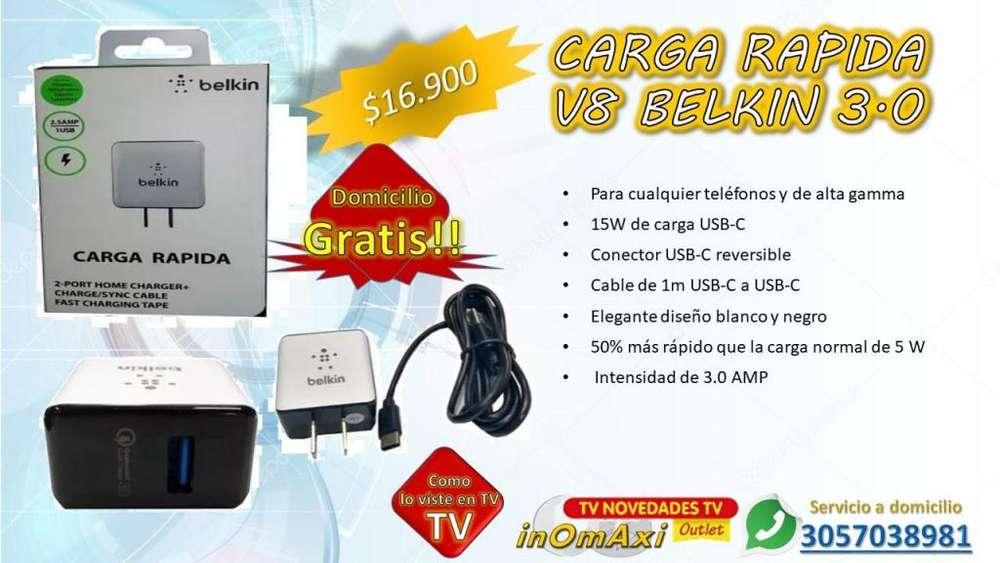 CARGA RAPIDA V8 BELKIN 3AMP REALES CARGADOR CELULARES
