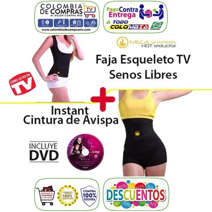 Cami Senos Libres Faja Instant Cintura Avispa DVD Zumba MegaShapers Hot Reductor Nuevos Originales Garantizados