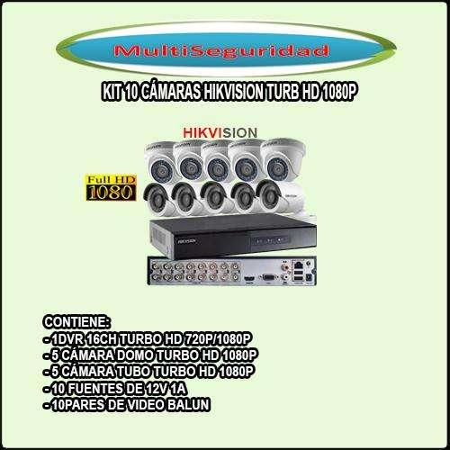 KIT HIKVISION TURBO HD 1080P 10 CÁMARAS DVR 16CH ACCESORIOS INCLUYE IVA