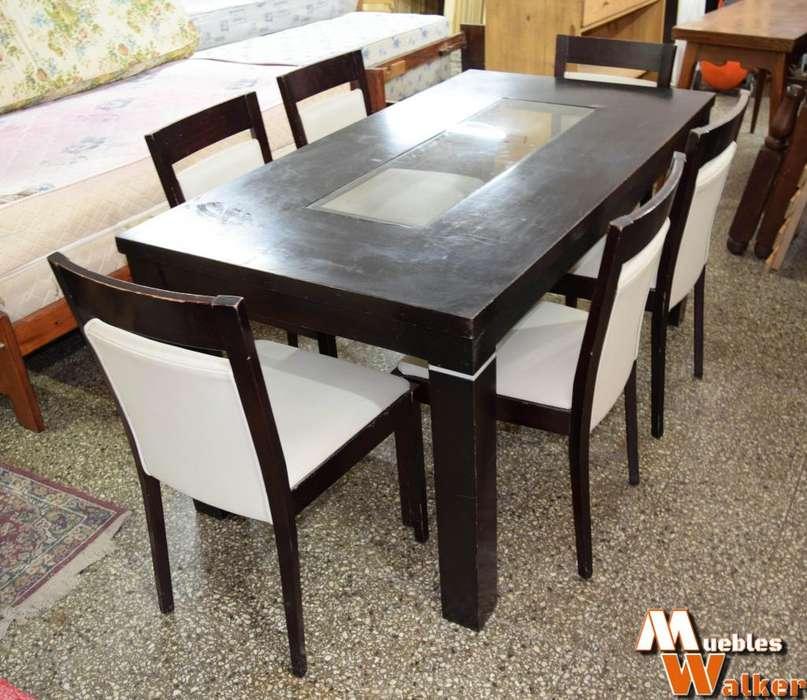 Juego de mesa de comedor laqueada con 6 sillas