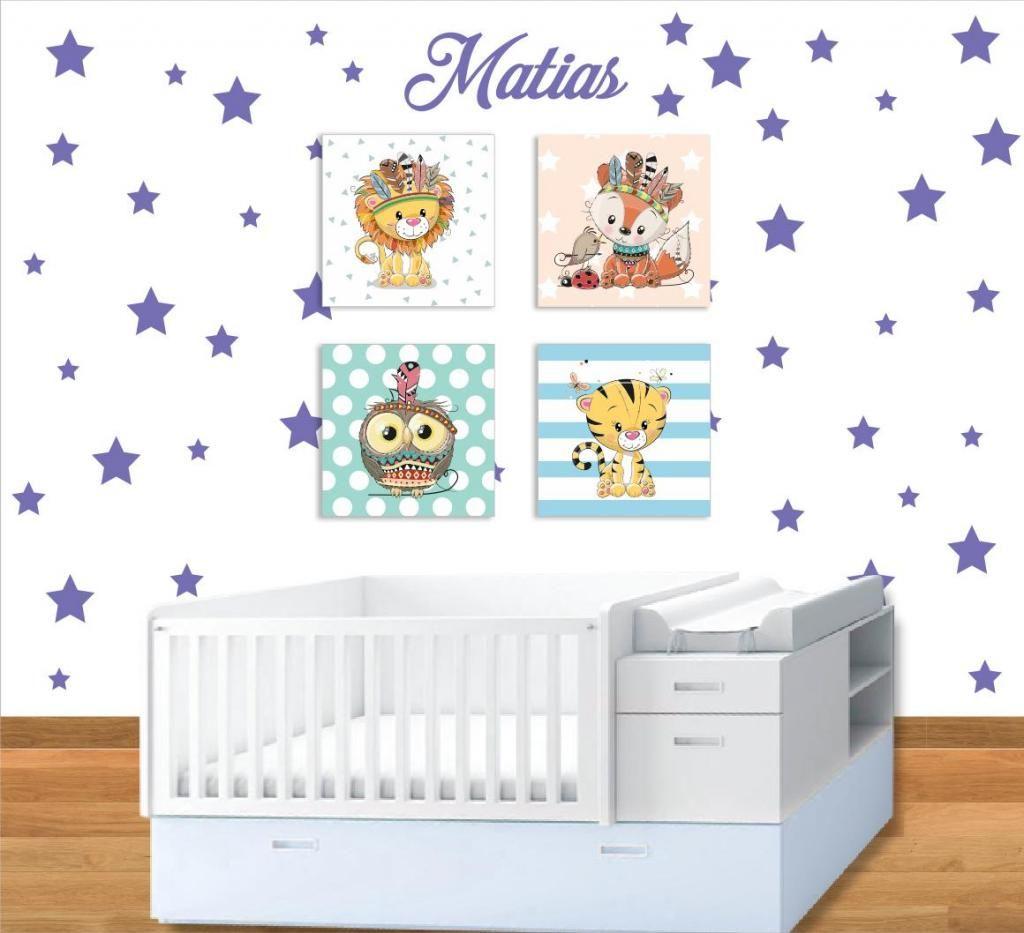 ac7997ead Cuadros Lienzo Y Estrellas Decoracion Cuarto Bebe Niño Niña JV PUBLICIDAD  Diseño Impresion Avisos Acrilico Embarazo
