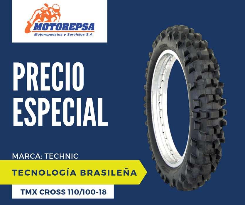 <strong>llanta</strong> TECHNIC TMX CROSS 110/100 18 para Moto YAMAHA TTR 230, WR 250/450F Y SIMILARES